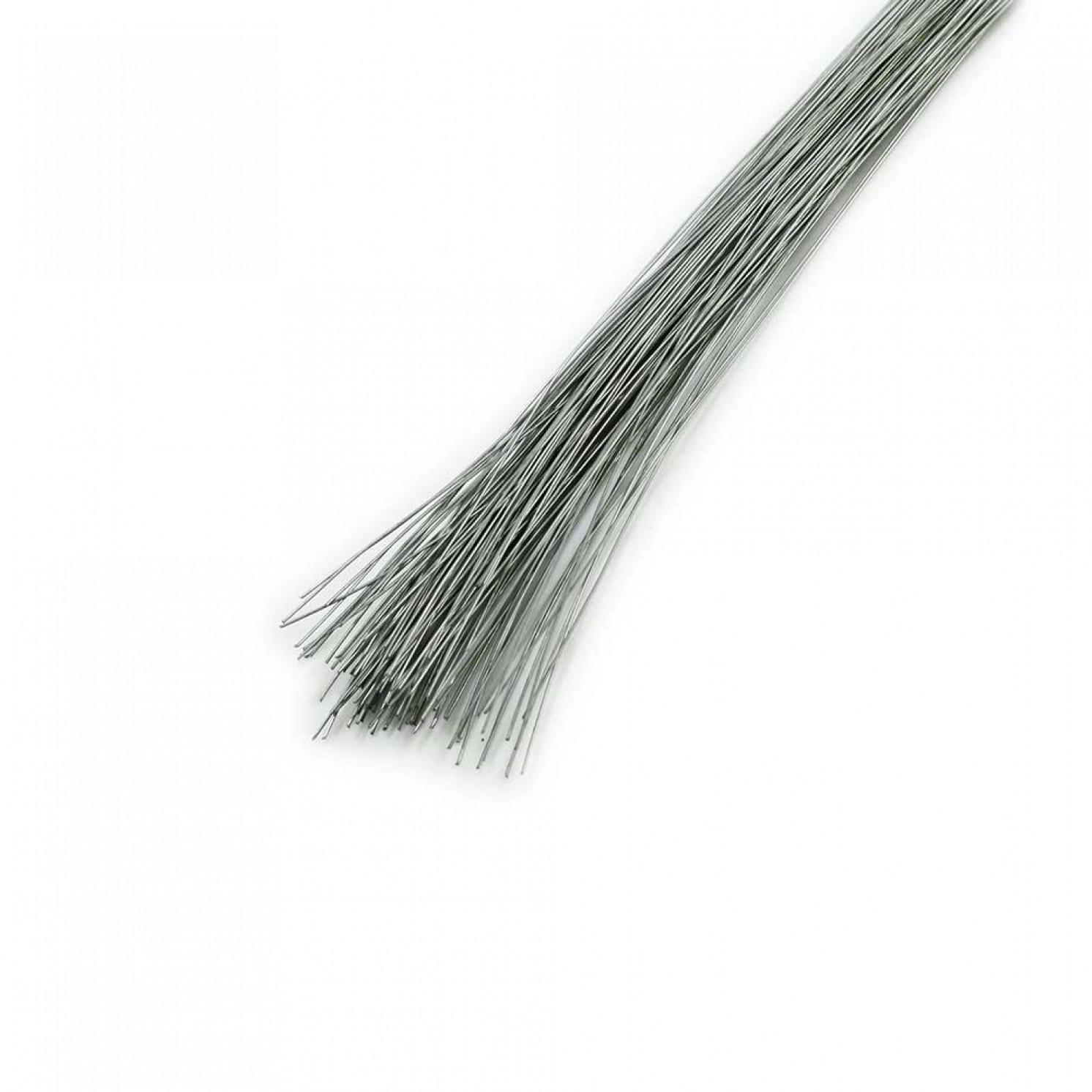 Проволока в бумажной обмотке пучок 100 шт, 36 см D=0,30мм ;№ 30 серебряная