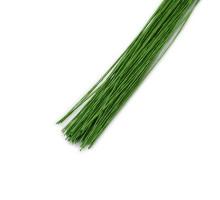 Проволока в бумажной обмотке пучок 100 шт, 36 см D=0,45мм ;№ 26 светло-зеленая