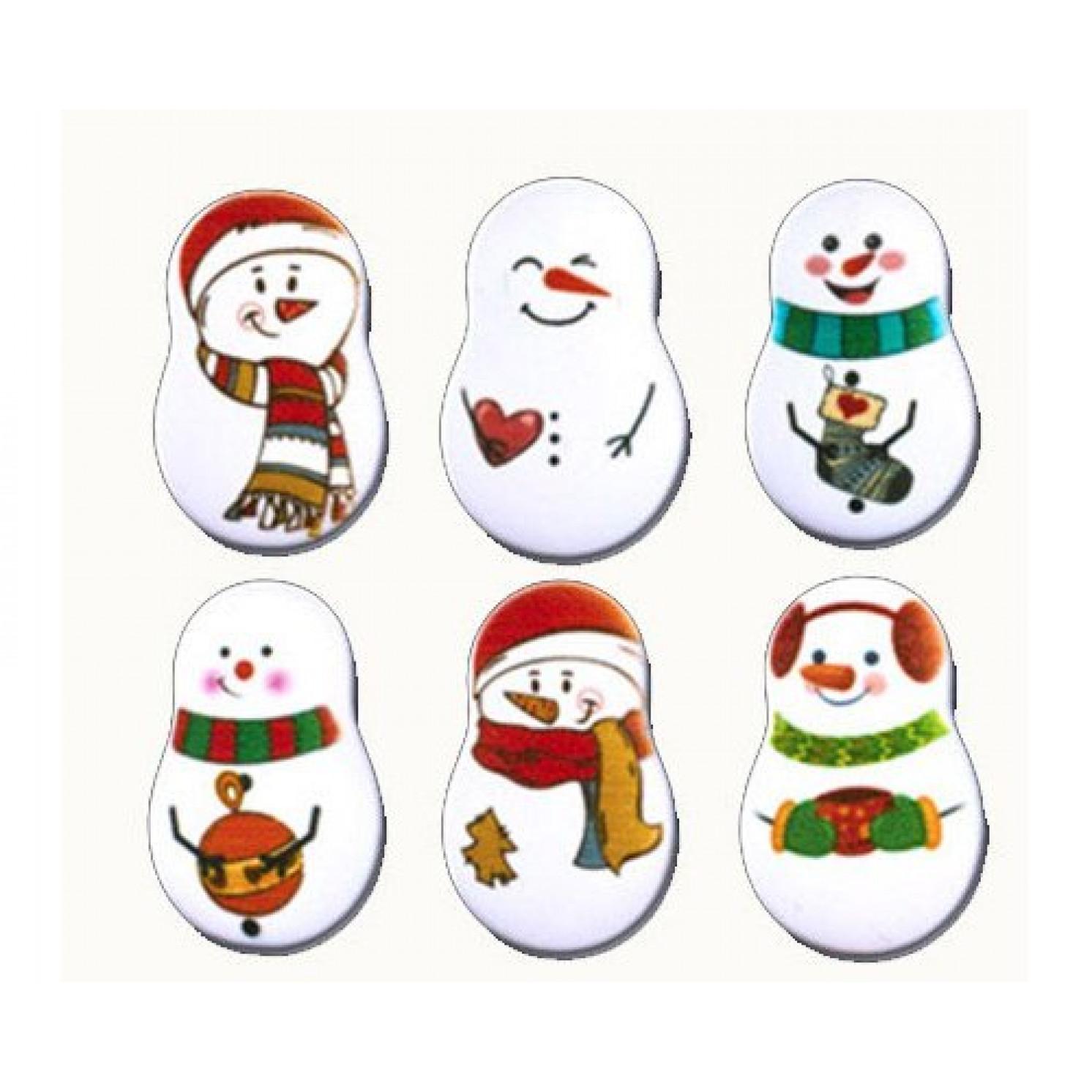 Сахарные фигурки Снеговики 35*23 мм 6 шт