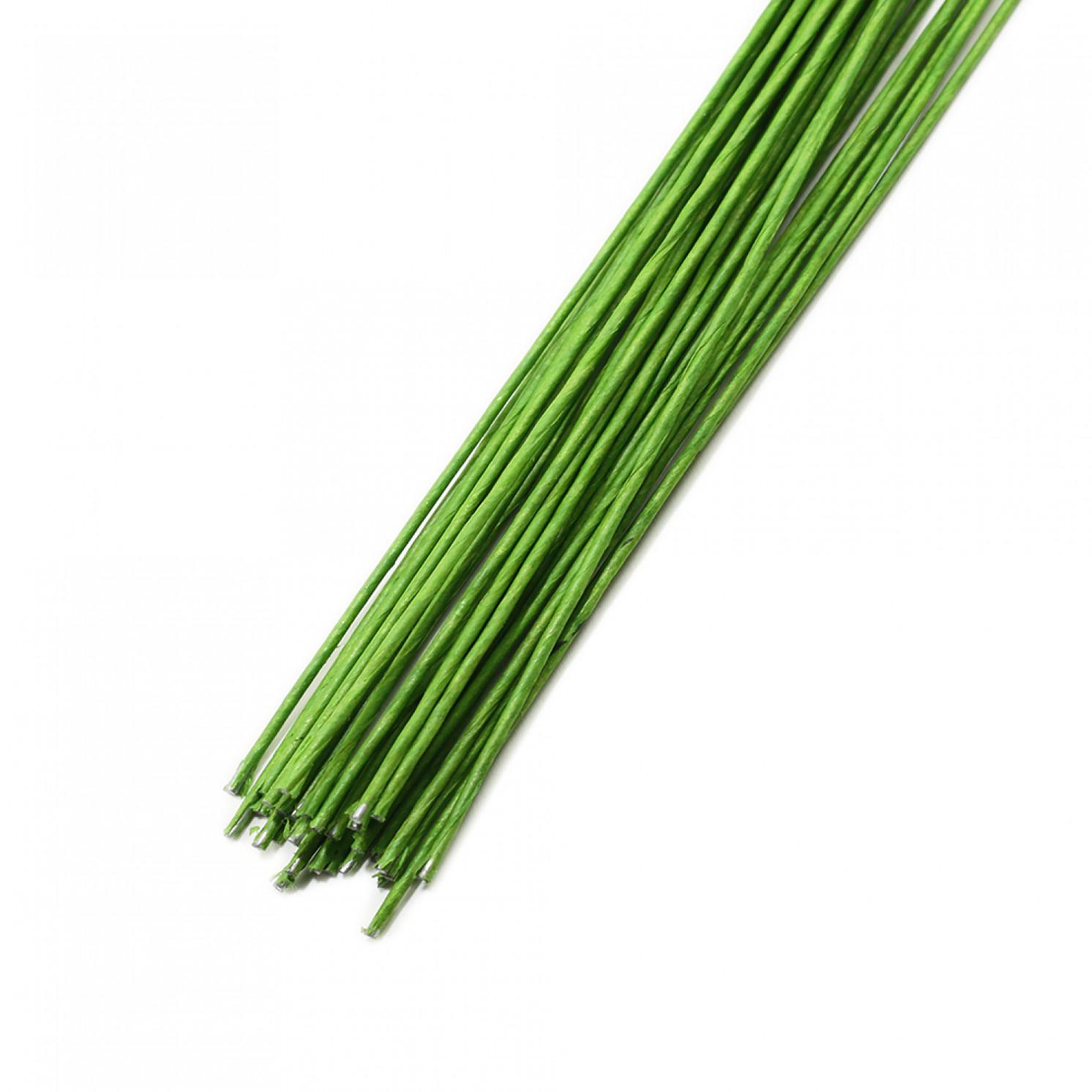 Проволока в бумажной обмотке пучок 30 шт, 36 см D=1,2мм ;№ 18 Светло-Зеленая