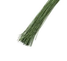 Проволока в бумажной обмотке пучок 100 шт, 36 см D=0,35мм ;№ 28 Темно-зеленая
