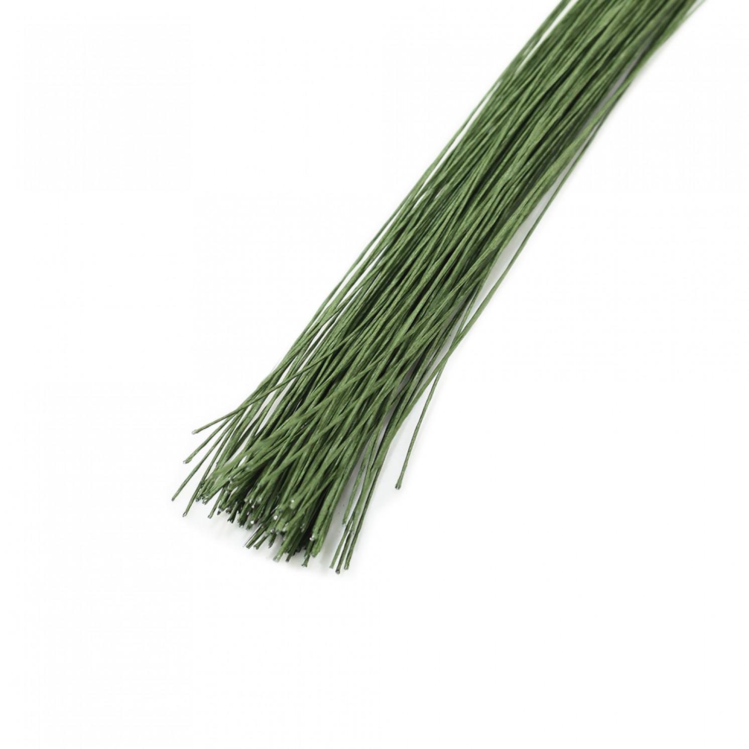 Проволока в бумажной обмотке пучок 100 шт, 36 см D=0,45мм ;№ 26 Тёмно-зеленая