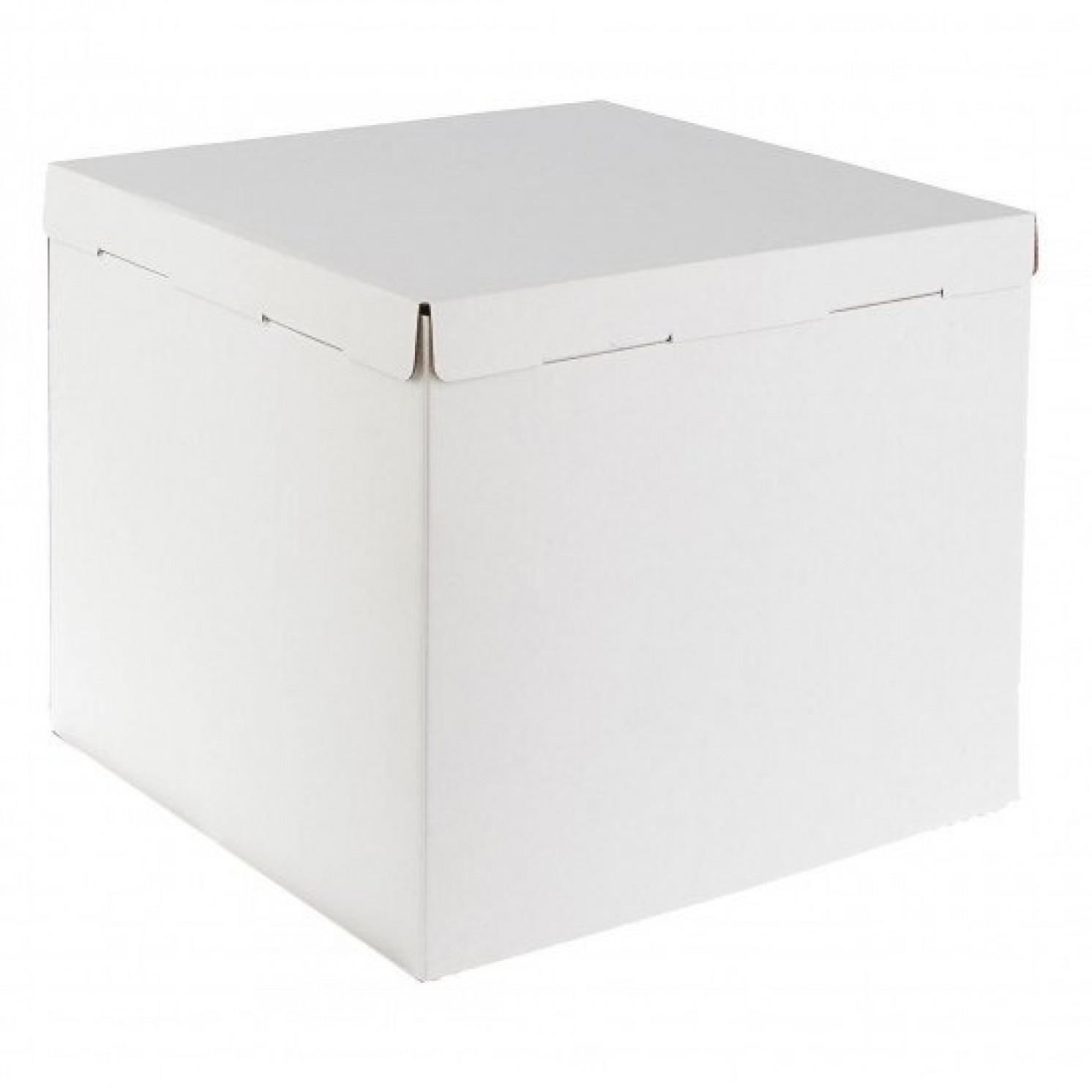 Короб картонный белый 400х400х350 мм, усиленный (гофра)