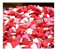 """Посыпки """"Сердечки красно-бело-розовые большие"""" 50 гр"""